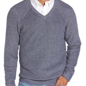 Nordstrom supima cotton v-neck sweater marled blue